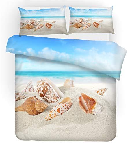 ZHYY Blue Sea Beach Shell Stafish 3D Bettwäscheset Dream Land Print Bettwäscheset Bettwäsche mit Kissenbezug Bettgarnitur Heimtextilien (Farbe : #5, Size : US King-259x229cm)