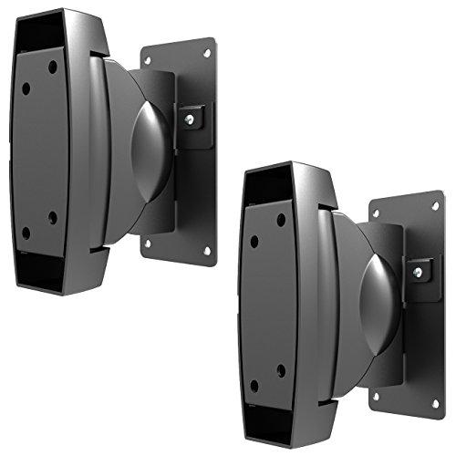 deleyCON 2 Universal Lautsprecher-Boxen Wandhalterung bis 10Kg Schwenkbar Drehbar Neigbar Full-Motion Mount Halterung Wand-Halter Multiroom Speaker