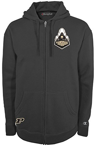Champion NCAA Purdue Boilermakers Men's Fan Favorite 2 Full Zip Hooded Fleece Jacket, Small, Graphite
