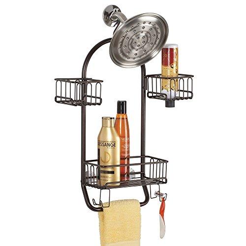 mDesign Duschablage zum Hängen - praktisches Duschregal - ohne Bohren zu montieren - Duschkörbe zum Hängen aus rostfreiem Metall für Ihr Duschzubehör (Shampooflaschen, Rasierer etc.) (Mittlere Flasche Runde)