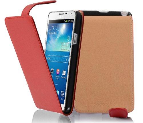 Cadorabo - Flip Style Hülle für Samsung Galaxy NOTE 3 (GT-N9005) - Case Cover Schutzhülle Etui Tasche in INFERNO-ROT