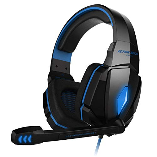 samLIKE PC & PS4 Gaming Kopfhörer, Noise Reduction 3.5MM + USB Headphone mit Cool LED Lichteffekt 4D Stereo Headset mit Mikrofon Speaker für PC, Switch, Laptop, Tablets, Handy, ps4 usw (Blau) Audio Pc Headset Speaker Switch