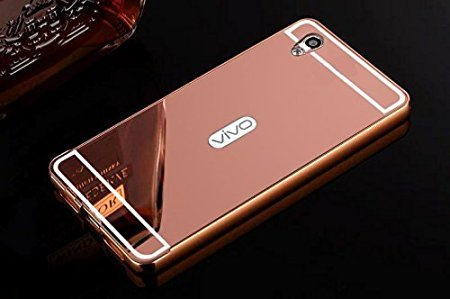 Mobi Care Aluminum Metal Bumper with PC Mirror Back Cover Case For VIVO Y51L / Y51 - ROSE GOLD