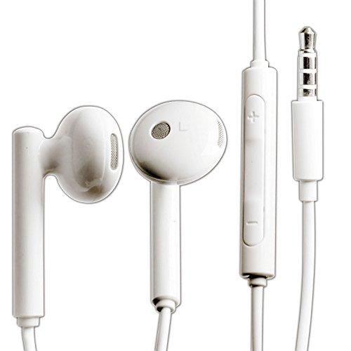 Huawei Handy InEar Stereo Headset mit Anrufannahme und Mikrofon in Weiß für kompatible Huawei Mobiltelefone mit 3,5 mm Klinke Anschluss