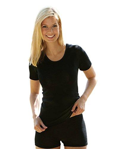 Damen Unterhemd kurzarm, Wolle Seide, Gr. 38/40, Schwarz (Hemden Casual Aus Seide)
