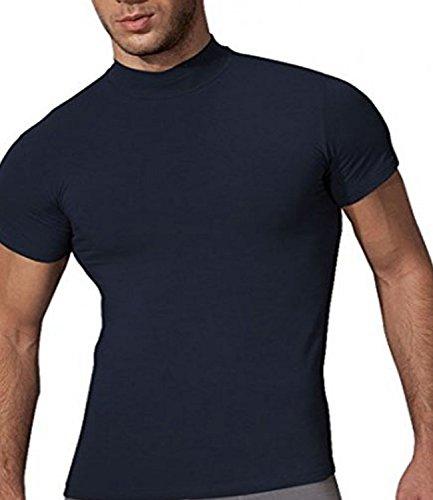 Doreanse Underwear Herren Stehkragen Shirt Business Unterhemd Slim Fit T-Shirt Männer Navy