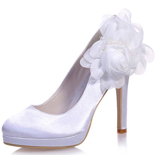Elobaby scarpe da sposa per donna fiori décolleté in raso con punta chiusa/tacco 11cm tacco, white, 42