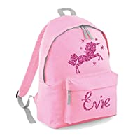 Danni Rose Girls Personalised Unicorn & Stars Backpack,Pink Glitter Printed Backpack with Your Name (Pink)