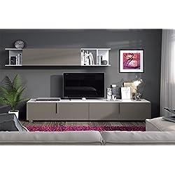 Habitdesign (0S6640BO) - Mueble de comedor con 3 puertas, color Blanco Brillo y Basalto, dimensiones 200 cm x 42 cm de profundidad