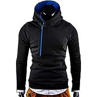Oyamihin W06 Winter Men's Hooded Coat Casual Male Coat Cardigan Fashion Slanted Zipper Long Sleeve Letter Printing Cardigan - Black M