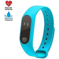 Fitness Tracker, impermeable M2 Step Activity Tracker con monitor de ritmo cardíaco Podómetro y monitor de sueño Contador de calorías Reloj Bluetooth, pulsera inteligente para niños y mujeres (azul)