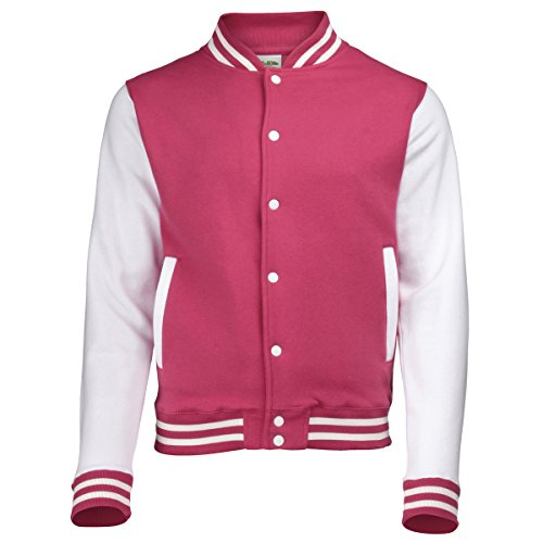 KiarenzaFD Varsity Jacket zweifarbiger Hoods Streetwear Sweatshirt Herren College Pink Weiß Jacke, Herren, ROSA-Bianco
