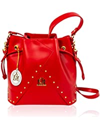 355bd49b10 Valentino Orlandi Italian Designer Red Leather Large Studded Purse Bucket  Bag