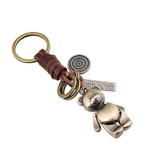 Bronze Bar (UDBOK Schlüsselbund Schlüsselhalter Punk Style Retro Handwebart Legierung Bronze Bär Leder Auto Schlüsselanhänger Schlüsselanhänger Schlüsselanhänger Für Männer Frauen Geschenke, Weiß)