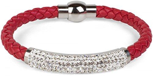 styleBREAKER geflochtenes Armband mit Strasssteinen und Magnetverschluss, Flechtarmband, Damen 05040047, Farbe:Dunkelrot - Dunkelrot Farbe