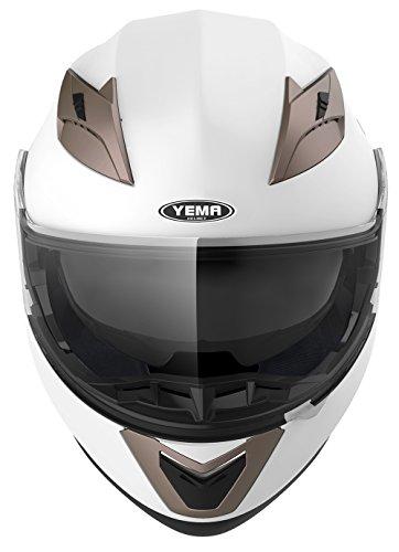 Motorradhelm Klapphelm Integralhelm Fullface Helm – Yema YM-925 Rollerhelm Sturzhelm mit Doppelvisier Sonnenblende ECE für Damen Herren Erwachsene-Weiß-XL - 3