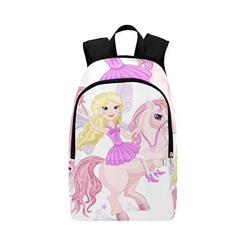 Kostüm Fee College - Kleines Einhorn mit Prinzessin Girl Casual Daypack Reisetasche College School Rucksack für Männer und Frauen