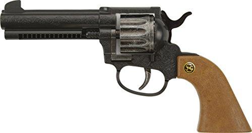 J.G.Schrödel Peacemaker Colt: Spielzeugpistole für Zündplättchen-Munition, 12 Schuss, passend zum Cowboy-Kostüm, 22.5 cm, schwarz (200 ()