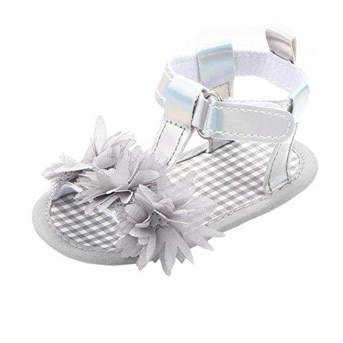 Igemy 1Paar Neugeborene Baby Mädchen Blumen Sandalen Krippe Anti Slip Soft Sole Schuhe Grau