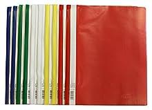 Idena 307007 - Cartelline A4 in plastica, 10 pezzi, 5 colori, 2 x Blu/Bianco/Giallo/Verde/Rosso