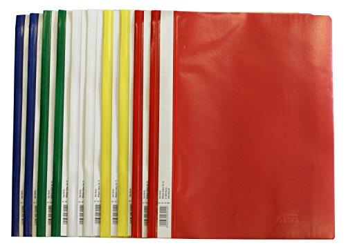 Idena 307007 – Schnellhefter A4, aus Kunststoff, 10 Stück, 5 Farben, 2 x blau/weiß/gelb/grün/rot