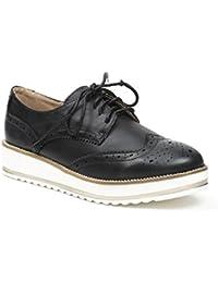 Ideal Shoes - Derbies effet usé en similicuir Baya