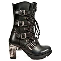 New Rock TR003-S1 Back Steel Heel Strap Buckle Gothic Punk Ladies Boots