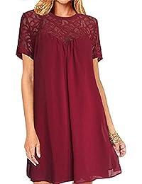 e3b86401ff Amazon.es  Vestido Rojo De Gasa - Recto   Vestidos   Mujer  Ropa