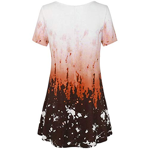 Cherokee V-neck Tunika (Haughtily Frauen V-Ausschnitt Farbverlauf Gedruckt Tops Bluse Kurzarm Plissee Casual Plus Size Lose Pullover T-Shirt)