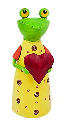 Deko Figur Frosch mit Herz aus Metall grün rot gelb, 22cm, Gartenfigur Tierfigur Froschfigur Metallfigur für Wohnung Garten (Figur Frosch-sammler)