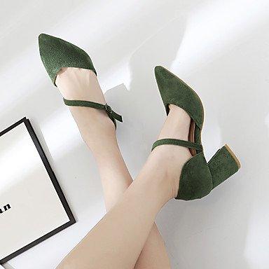 LvYuan-ggx Da donna Tacchi Con cinghia PU (Poliuretano) Primavera Casual Con cinghia Nero Verde militare Cachi 5 - 7 cm Black