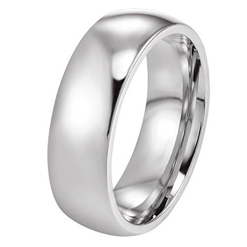 Prosteel anello solitario lucido semplice da donna/uomo, acciaio inossidabile, argento, fede nuziale da matrimonio, confezione regalo, us 05 it 09