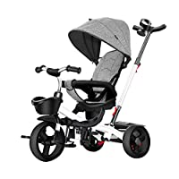 GYF Boys Tricycle,Kids 4 In 1 Trike Children Nino Outdoor Trike For 1 Year Old Childrens Tricycle Red Purple Grey Blue ( Color : Gray )