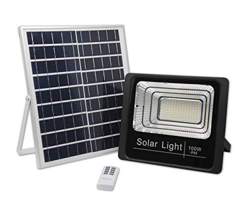 Luz Solar Exterior Con Mando a Distancia 100W, Foco Solar LED con...