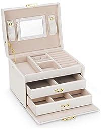 Caja Joyero Caja de Joyas, Cofres para joyas 3 Niveles Jewelry Organizer para Mujer , Organizador de Joyas para Anillos, Aretes, Pendientes, Pulseras y Collares(Blanco)