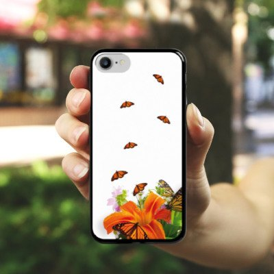 Apple iPhone X Silikon Hülle Case Schutzhülle Schmetterlinge Blume Lilie Hard Case schwarz