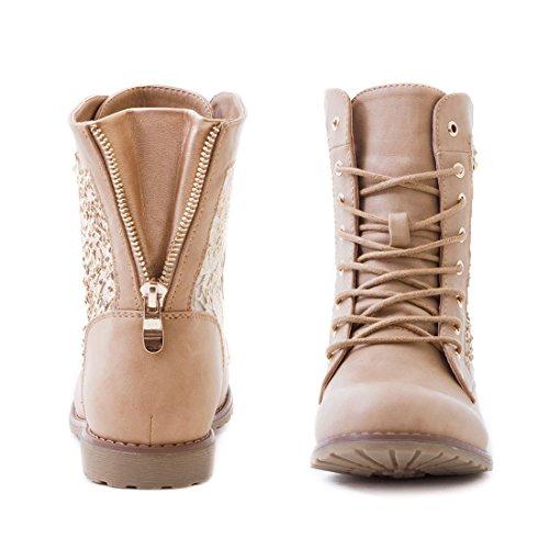 Marimo24 Damen #Trendboot Stiefel Stiefeletten Worker Boots mit Spitze in hochwertiger Lederoptik Übergrößen bis 43 #Glitzer Khaki