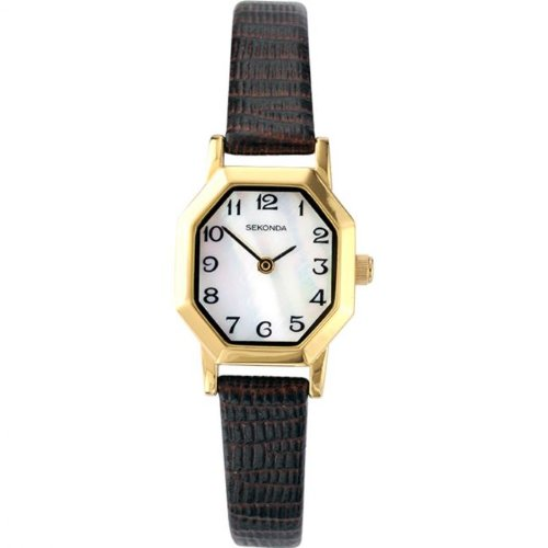 Sekonda-Womens-Quartz-Watch-with-Mother-of-Pearl-Dial-Analogue-Display-and-Brown-Leather-Strap-441627