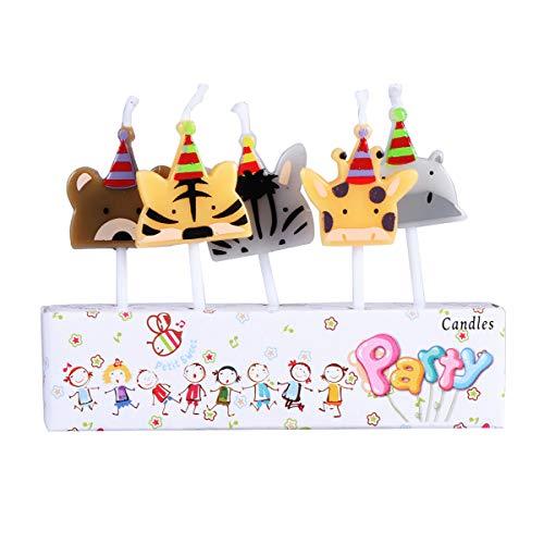 Amosfun 5 stücke Tier Kerze Nette Kuchen Topper Kerze für Erwachsene Kinder Baby Shower Birthday Party Supplies Dekorationen