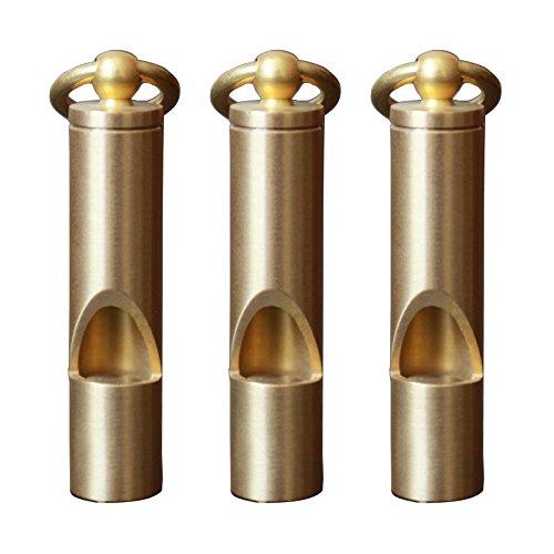 Outmate 3 pcs Premium Mini Sifflet de secours avec cadeau Box-h62 Laiton Loud Version EDC outils