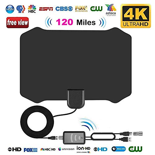 e, leegoal 120 Meilen Lange Strecke Indoor HDTV-Antennen mit Verstärker und 13,2 ft Koax-Kabel unterstützt 4k hd VHF uhf dvb-t für Leben lokale Sender ausgestrahlt ()