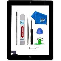 MMOBIEL Digitalizador Pantalla táctil frontal para iPad 2 (Negro) Incl botón de inicio y cable flex soporte cámara adhesivos pre instalados kit profesional de herramientas para una fácil instalación.