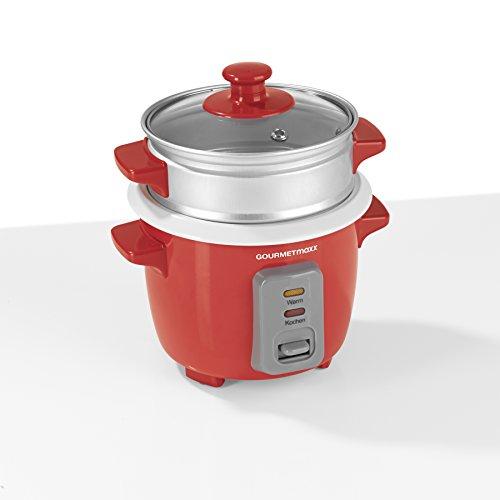 Gourmet Maxx–Arrocera con vapor Gar Aufsatz 400ml negro (con vaso medidor y función de mantenimiento en caliente) rojo