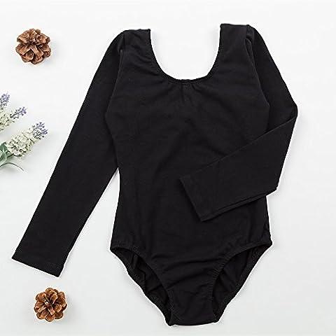 enfant Danse Entraine toi Vêtements Enfants Siamois Gymnastique Manches longues sous-vêtements , black , 120cm