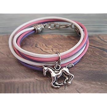 Handmade Mädchen/Kinder Echt Leder Wickel Armband, Rosa/Weiß/Flieder mit Pferde Anhänger