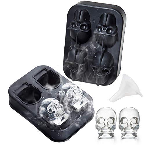 3D Totenkopf-Eiswürfelform - essbare Qualität 4 Totenkopf-Eiswürfel für Whiskey, Scotch, Cocktail, Likör oder Gelee, Schokoladenform, Schwarz, Party, Halloween-Geschenk für Kinder, Freunde (Für Freund Halloween-geschenke)