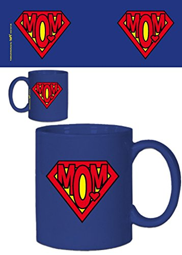 1art1 festa della mamma - super mom logo tazza da caffè mug (9 x 8cm)