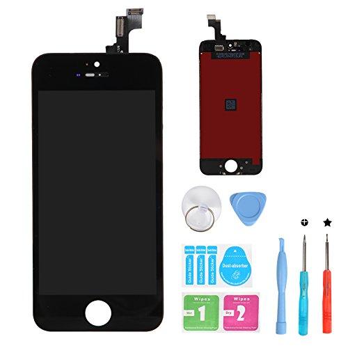 HSX_Z Ecran LCD Vitre Tactile pour iPhone 5S, Remplacement Retina Display Complet avec Outils de Réparation pour iPhone 5S Noir