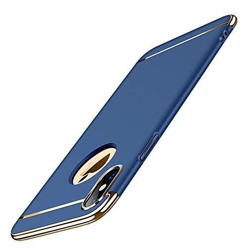 CXvwons CXvwons iPhone XS Hülle, iPhone X/XS Schutzhülle 3 in 1 Ultra Dünner Hart PC Handyhülle Harte Case Schale Tasche Handytasche Backcover Bumper Rückschale Schutzhülle iPhone X/XS Case Cover (Blau)