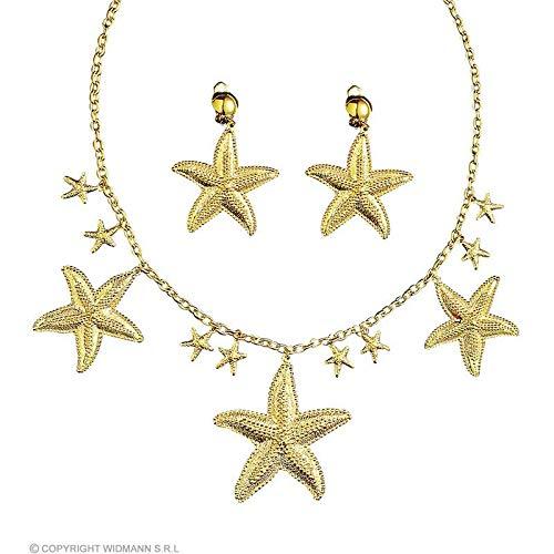 (Lively Moments Halskette und Clip - Ohrringe in goldfarbener Seestern Optik / Meerjungfrau Kostüm Zubehör)